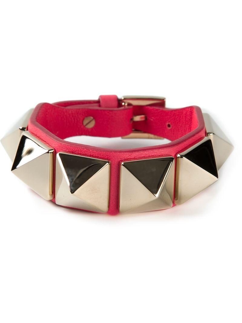 VALENTINO GARAVANI Red calf leather 'Rockstud' bracelet on Vein- getvein.com