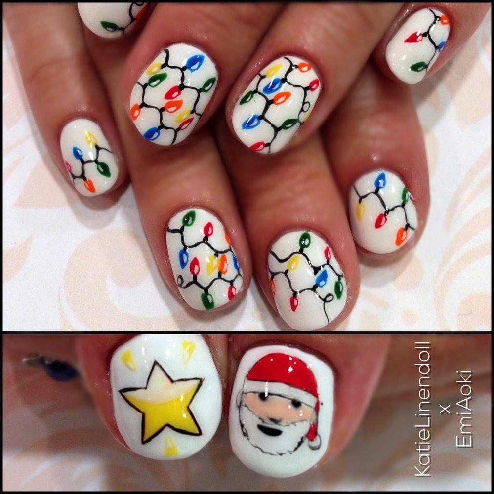 Christmas Lights and Santa Nail Art | Geek Nail Art | Pinterest ...