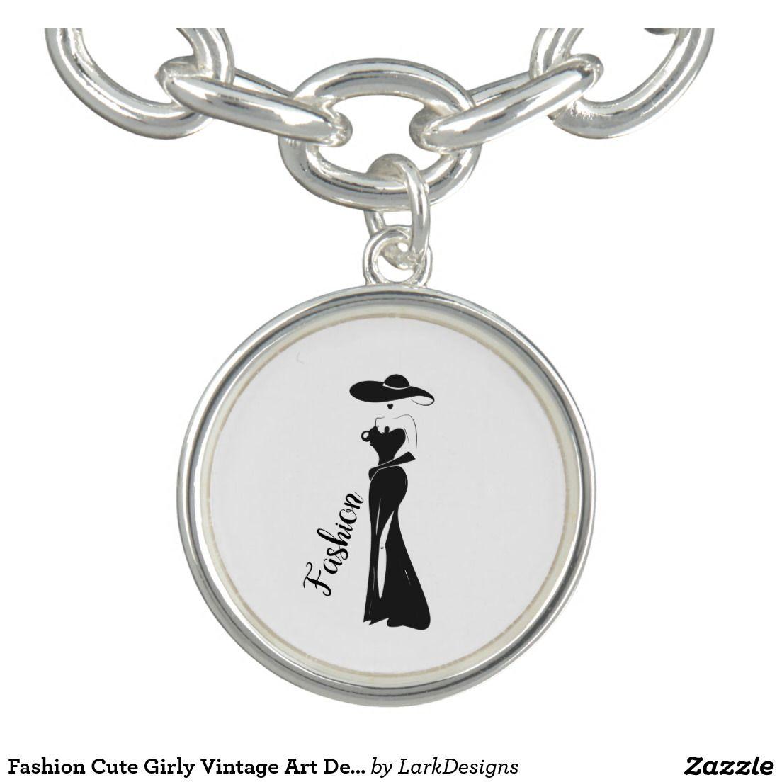 Fashion cute girly vintage art deco design charm bracelet lark