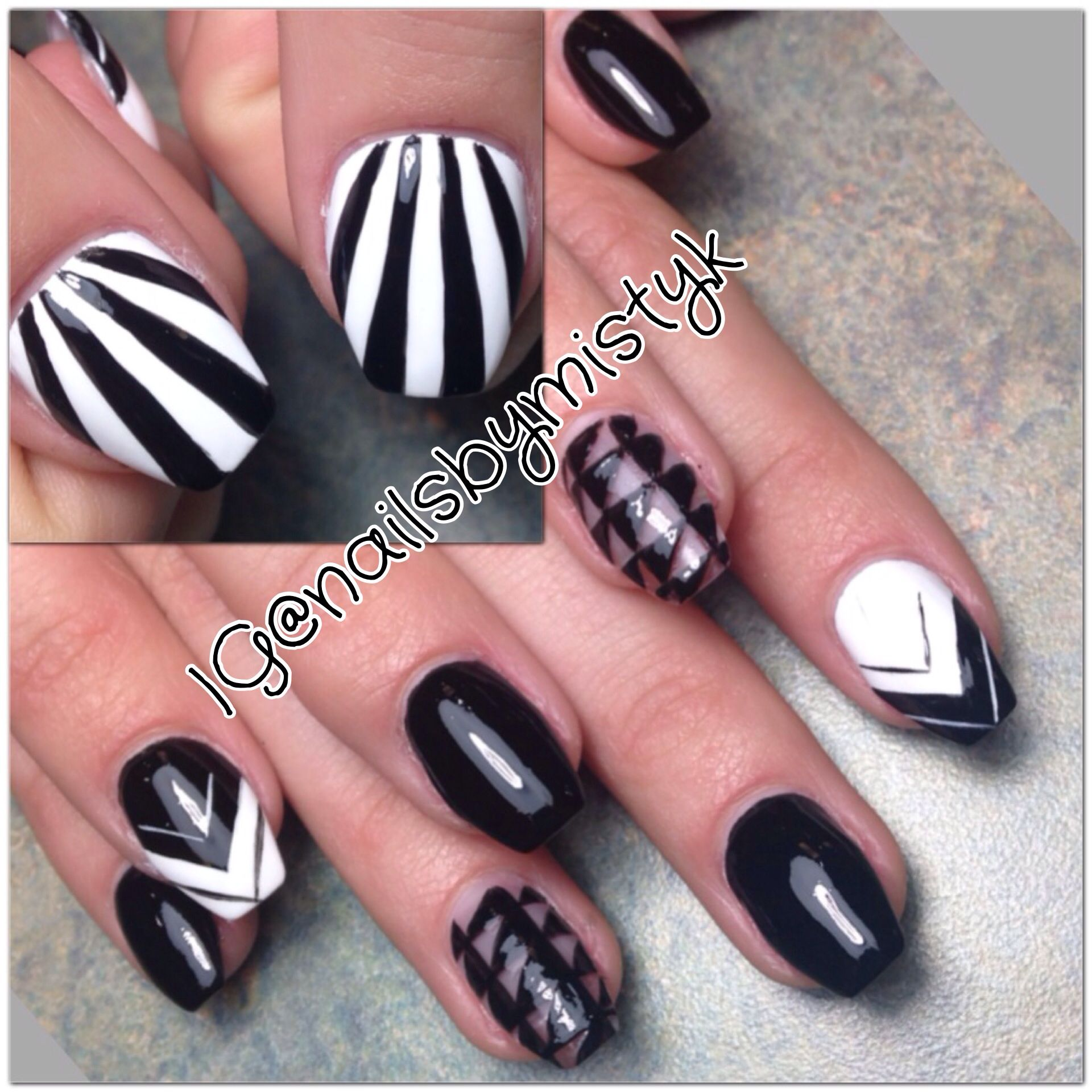 Vinyl Luxe Nail Art Unique Nail Art Black And Whit Nail Design