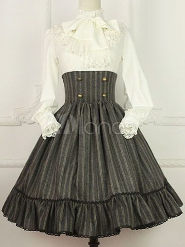 b6113ca0f80 Vintage Cotton Blend Lolita Skirt High Waist Lace UP in 2019 ...