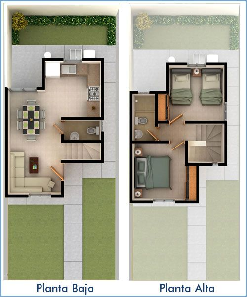 Planos de casas y plantas arquitect nicas de casas y for Planta de casa de dos pisos