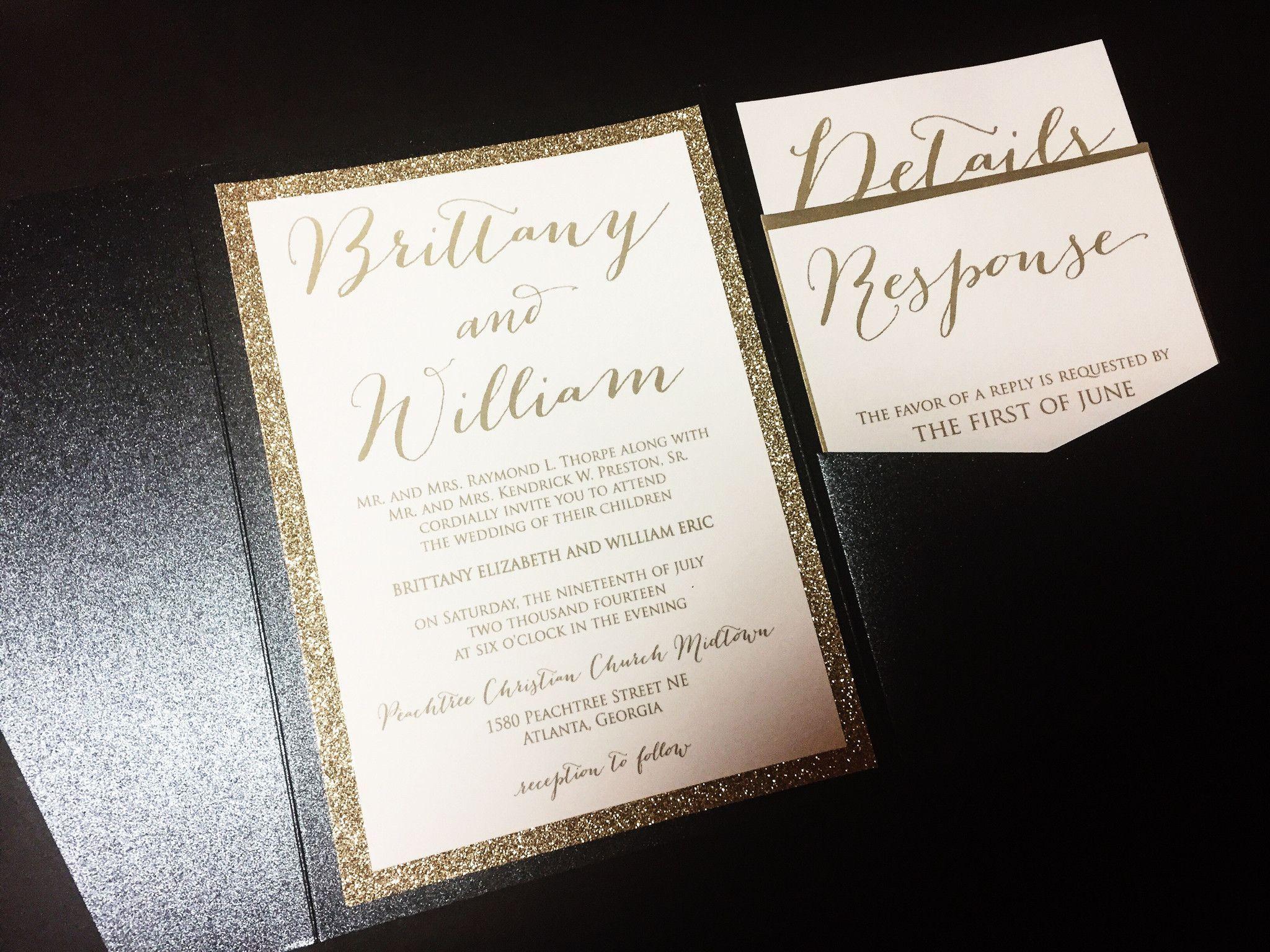 wedding invitations atlanta%0A Glitter Wedding Invitation  Luxury Pocketfold Wedding Invitation  Elegant Wedding  Invitation  Formal Wedding Invitation