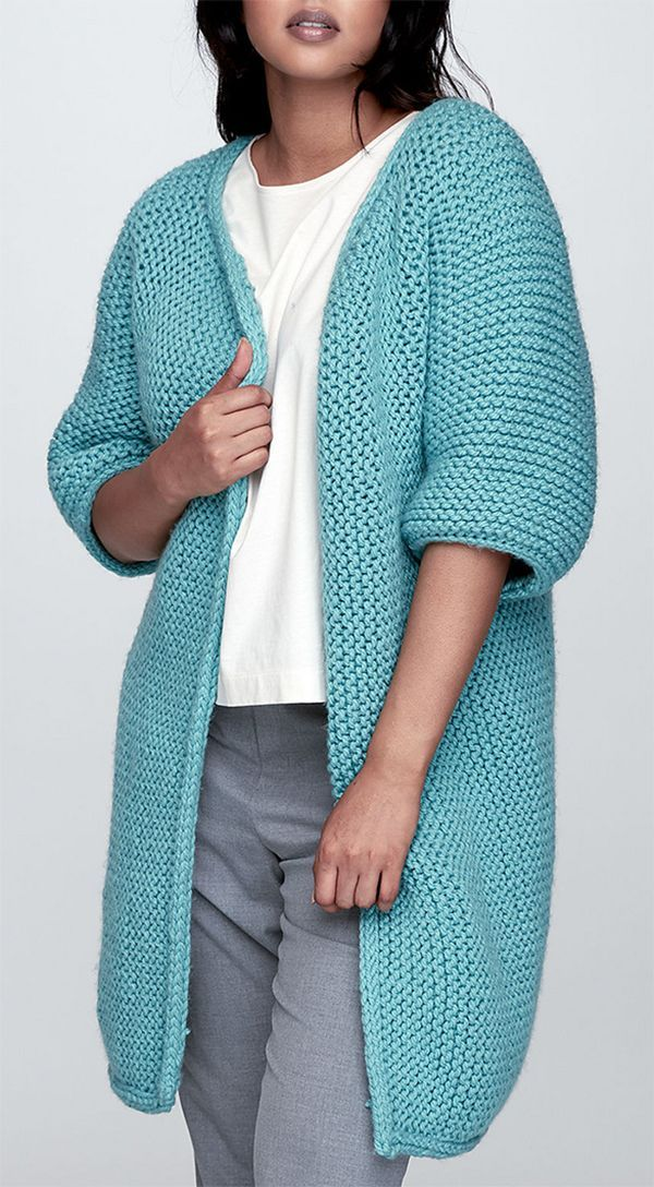 Free Knitting Pattern for Easy Garter Stitch Minimalist Jacket Long cardigan with elblow length sleeves is knit flat in garter stitch. Sizes XS/S M L XL 2/3XL 4/5XL. Rated easy and suitable for
