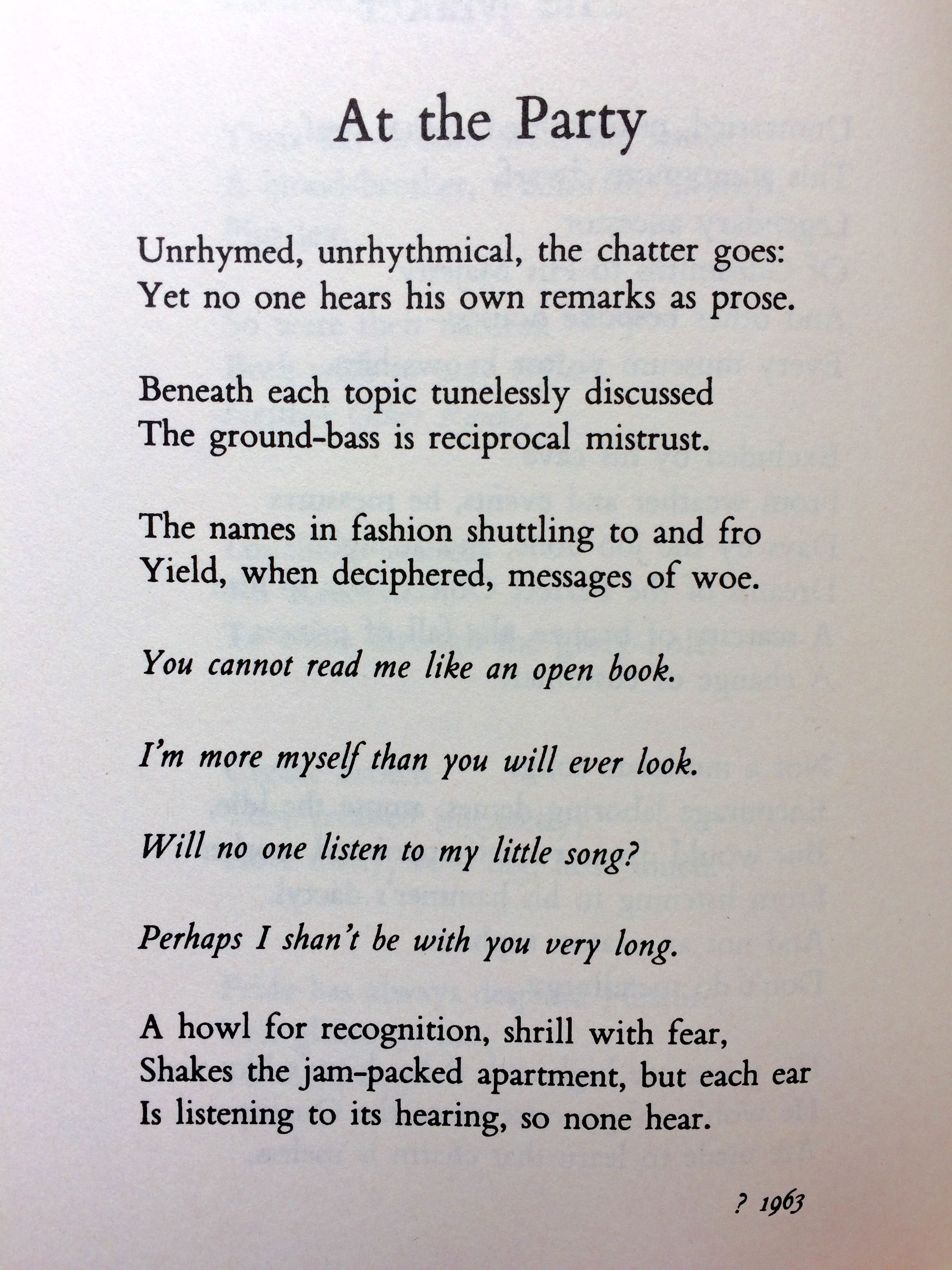 W H  Auden, At the Party (30 July, International Friendship