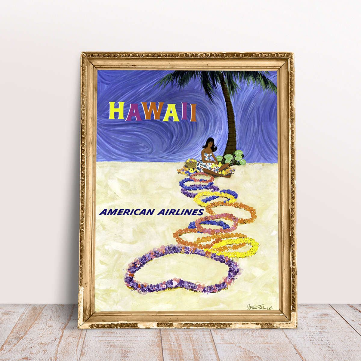 Hawaii Poster Vintage American Airlines Print by John