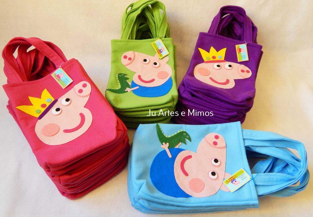 5e3d3bece Sacolas Peppa e George pig | Feltro in 2019 | Peppa pig, Pig party ...