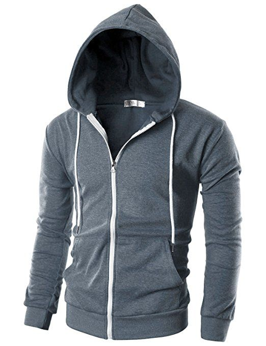f4ca0781 Ohoo Mens Slim Fit Long Sleeve Lightweight Zip-up Hoodie With Kanga Pocket  at Amazon