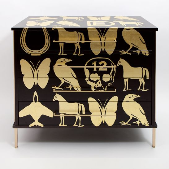 #341 | ReGeneration Furniture. Ebonized Walnut Dresser With Hand Applied  Gold Leaf Graphics By