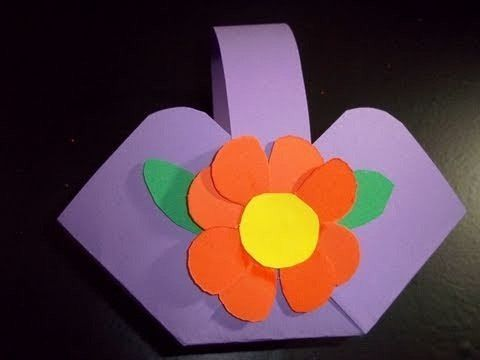 How to make a flower or candy basket out of construction paper this is an easy and fun craft for your kids which will teach them how to make a small basket out of construction paper you can use it to hold candies mightylinksfo