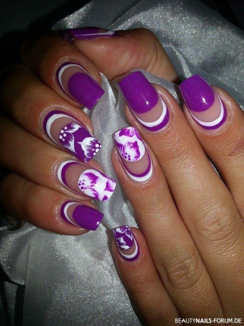 Lila Weiss Nailart Malerei Nails Things I Love Pinterest
