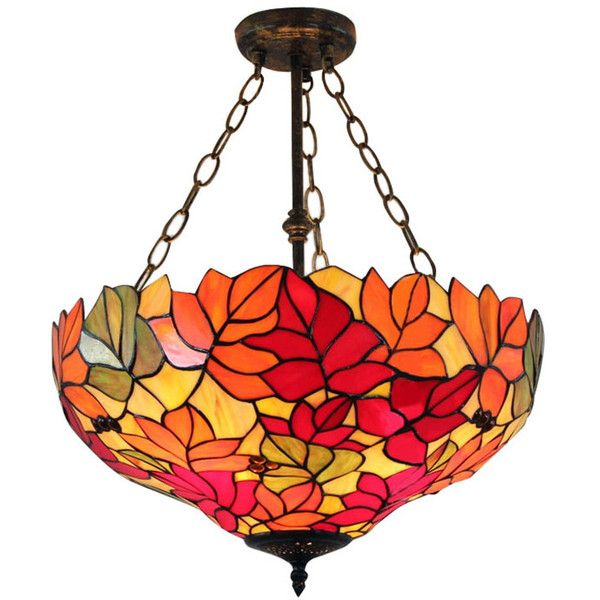 red yellow leaves tiffany style upside down pendant lamp 2 135 cny