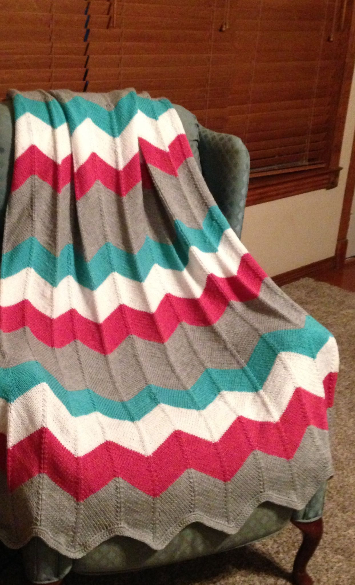Knitted Chevron Afghan For My Darling Daughter, Away At College