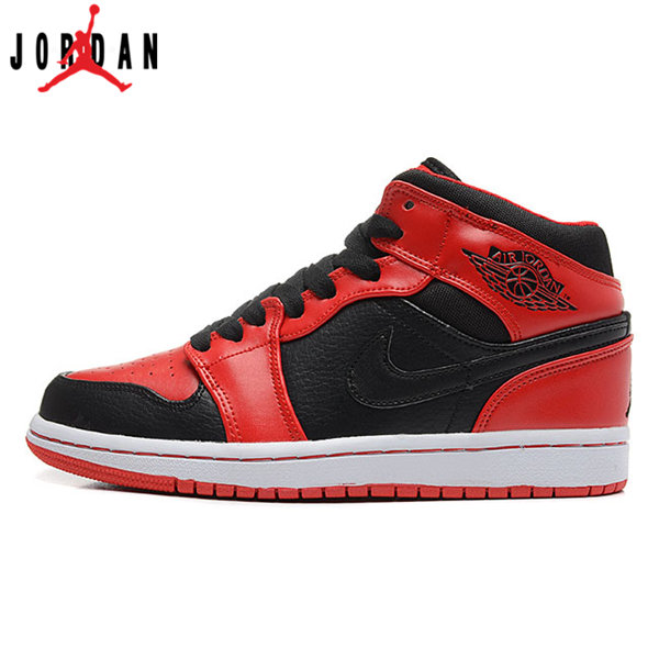 35fcb31fbb8 554724-005 Air Jordan 1 Mens Mid Black Varsity Fire Red Shoes,Jordan-Jordan  1 Shoes Sale Online