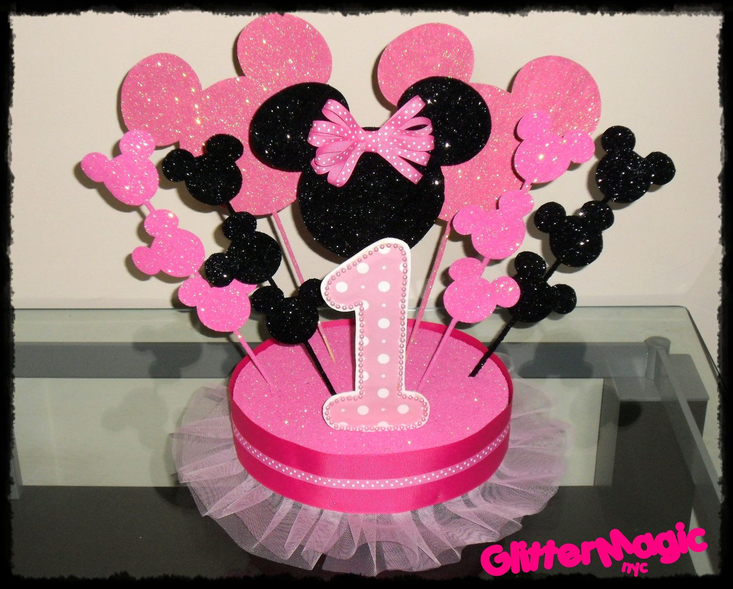 Minnie mouse centerpiece minnie mouse party minnie for Baby minnie mouse decoration ideas