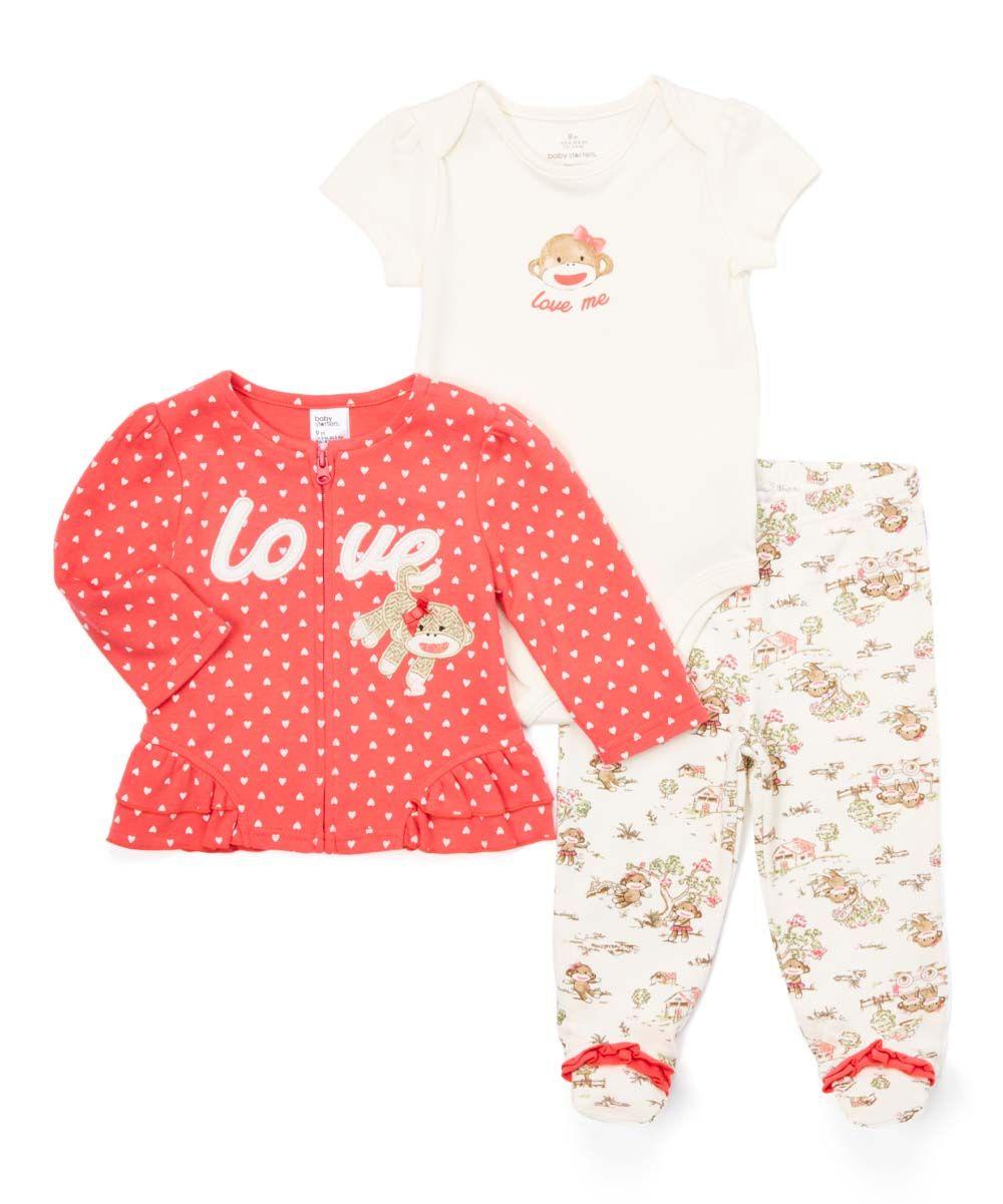 6cdecb466 Ivory   Coral  Love  Sock Monkey Zip-Up Cardigan Set - Infant ...