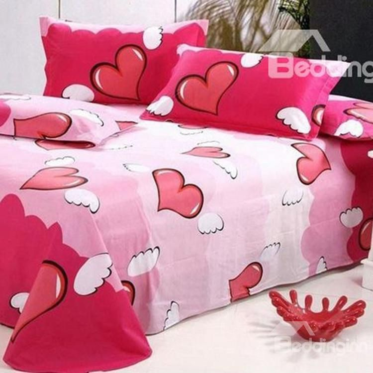 Angelical Pink Heart Shaped Active Printed Cotton Sheet 10486552 Beddinginn Com Cotton Sheets Pink Bedrooms Printed Sheets