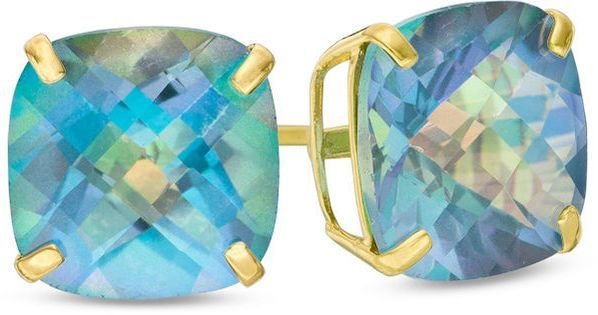 Zales Pear-Shaped Rainbow Blue Topaz Solitaire Stud Earrings in 10K Gold Quk2S