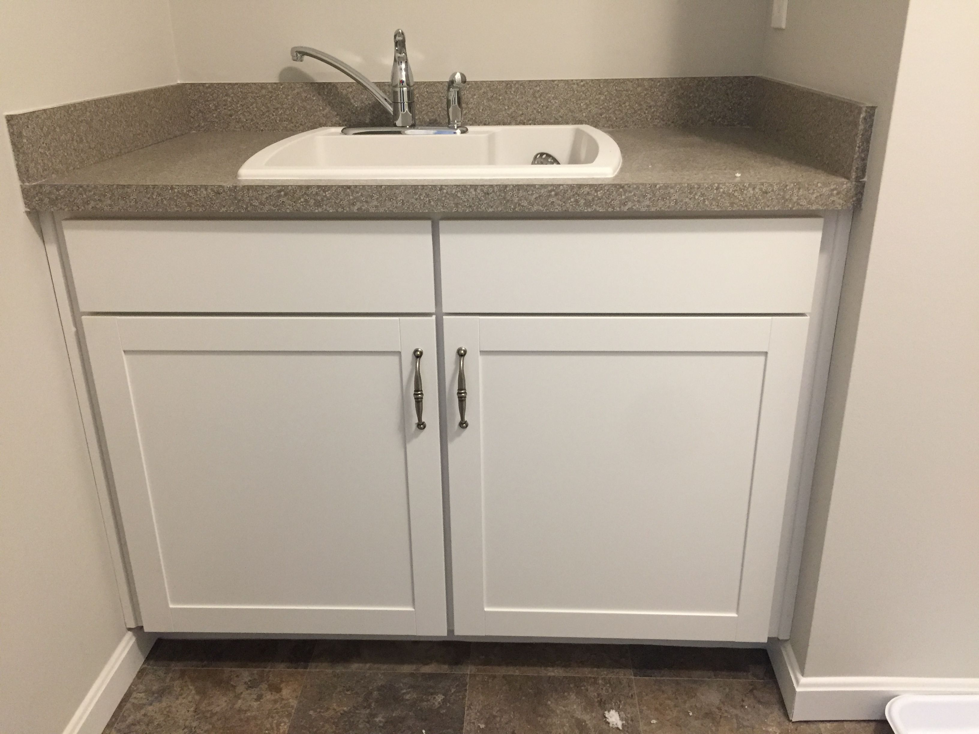 Sink Base Laundry Option Brellin White Cabinets Beluga Beige Laminate Counter Top Laminate Countertops Laminate Counter Vanity