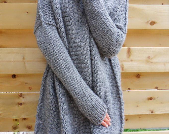 Oversized Chinky Alpaca Wool woman knit sweater. Thumb holes sweater ...