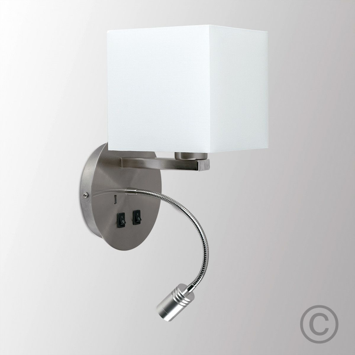 Modern Hotel Wall Light With Reading Light And Usb Charger In Brushed Chrome Finish Wall Lights Wall Mounted Reading Lights White Lamp Shade