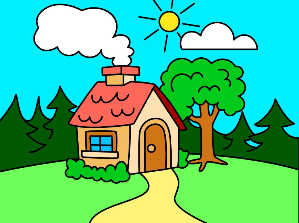 رسم منظر طبيعي سهل للاطفال صور رسومات بسيطة لتعليم الطفل صباح الورد Drawing For Kids Coloring Books Mario Characters