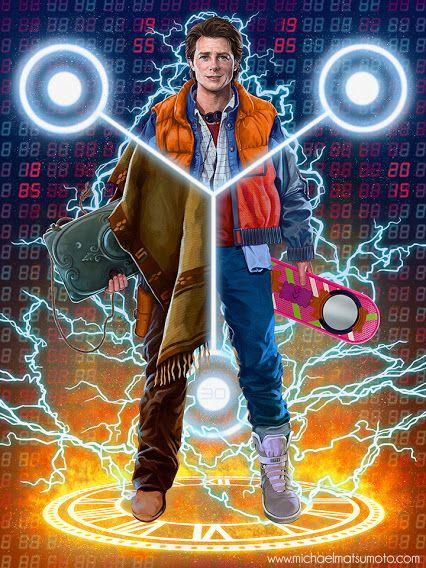 #backtothefuture trilogy in one picture !  Art : Michael Matsumoto http://www.michaelmatsumoto.com