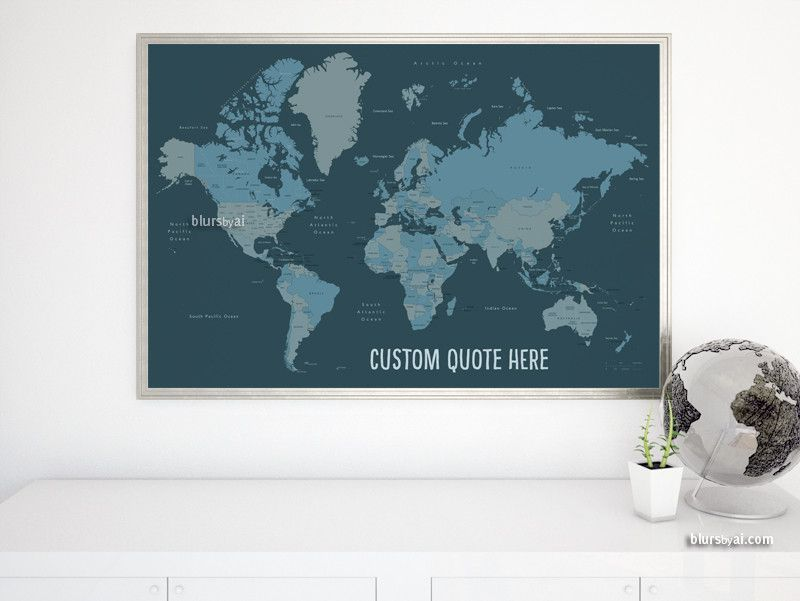Custom quote world map with countries us states canadian world push pin map with black frame 50 yellow push pins travel map map poster travel board wedding anniversary gift gumiabroncs Image collections