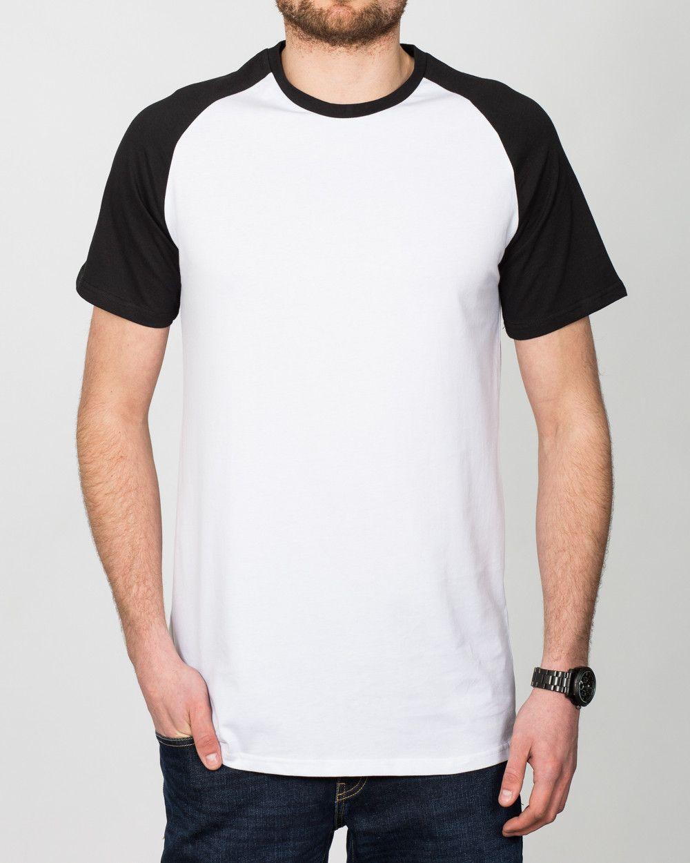 ba9bb6e644e 2t Tall Raglan Mens Extra Long T-Shirt (white black)