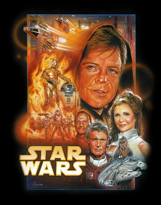 Another fake Episode 7 poster but still looks great. Love the aged original cast members. By Adam Schickling who seems to be inspired by Drew Struzan.