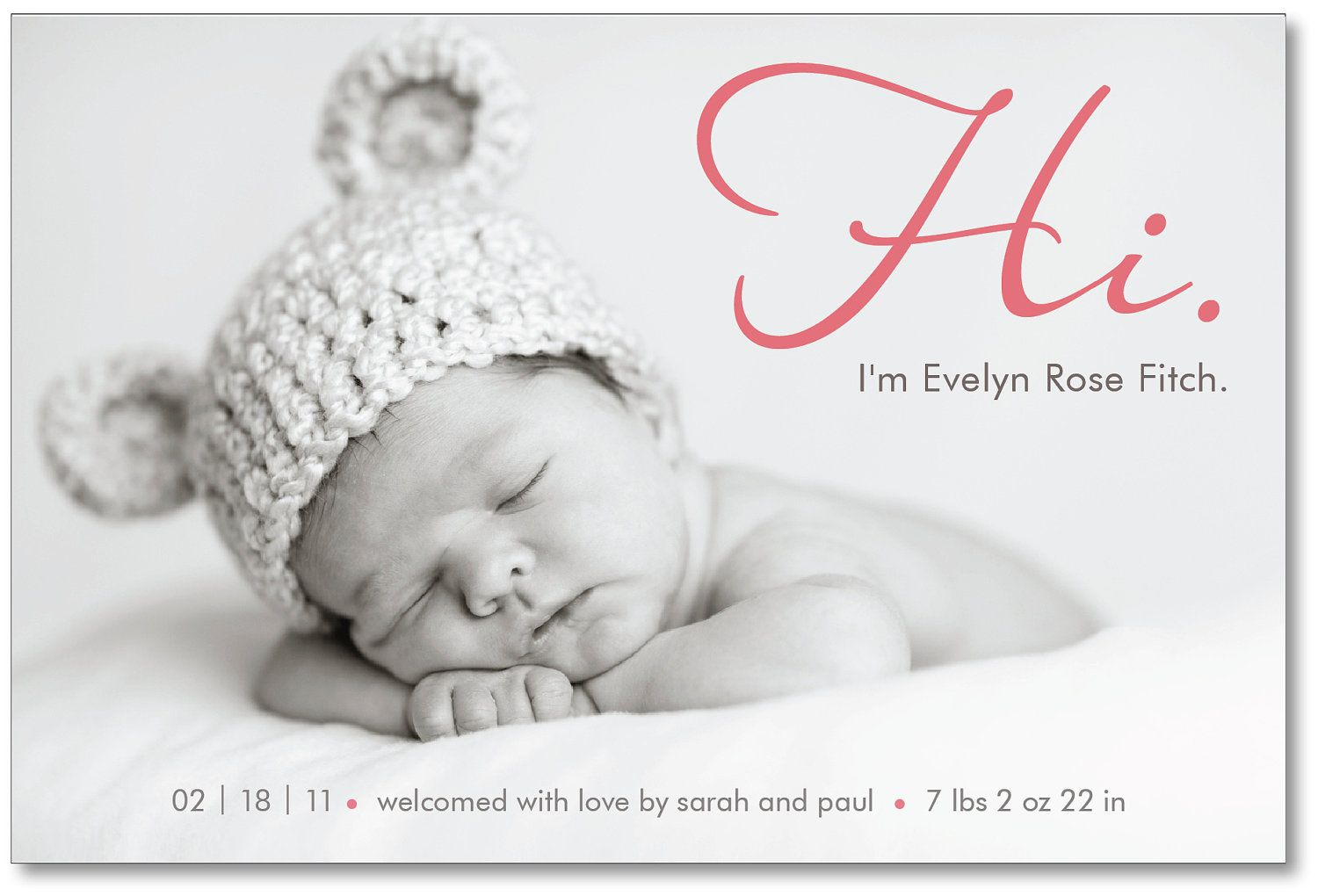 Love the simplicity of this announcement!    baby girl or boy photo birth announcement - Hi. $16.00, via Etsy.