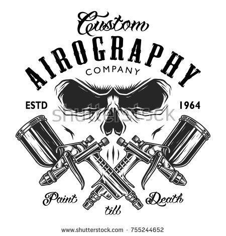 cb1469ce36f Custom aerography company emblem with spray guns and skull face ...