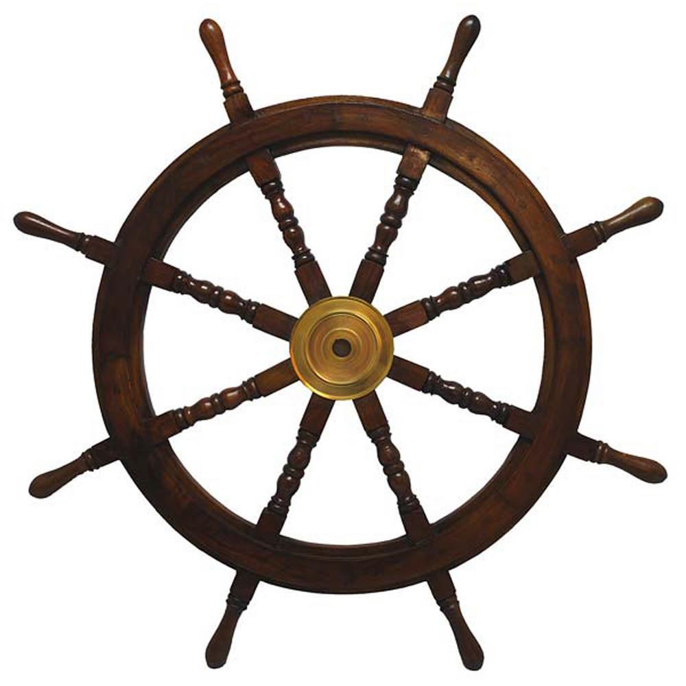 St Croix Trading Compan 36 In X 36 In Nautical Wooden Ships Wheel Wall Art Brown Wooden Ship Ship Wheel Decor