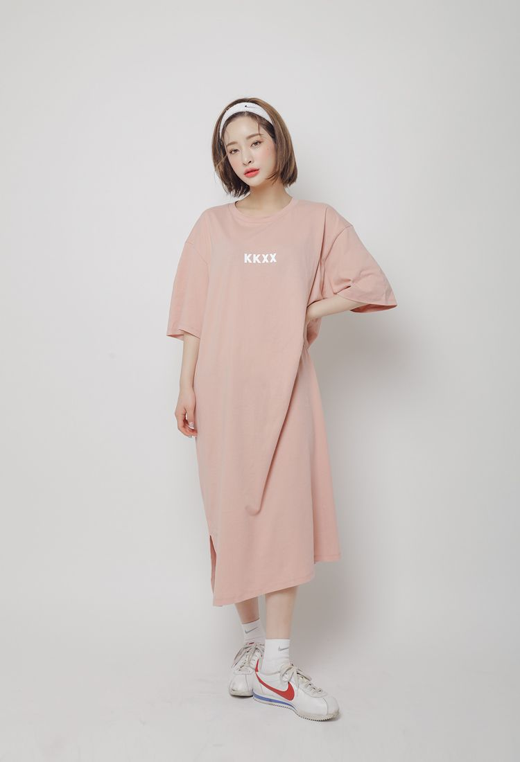09cda722322 Oversized Lettering Print T-Shirt Dress