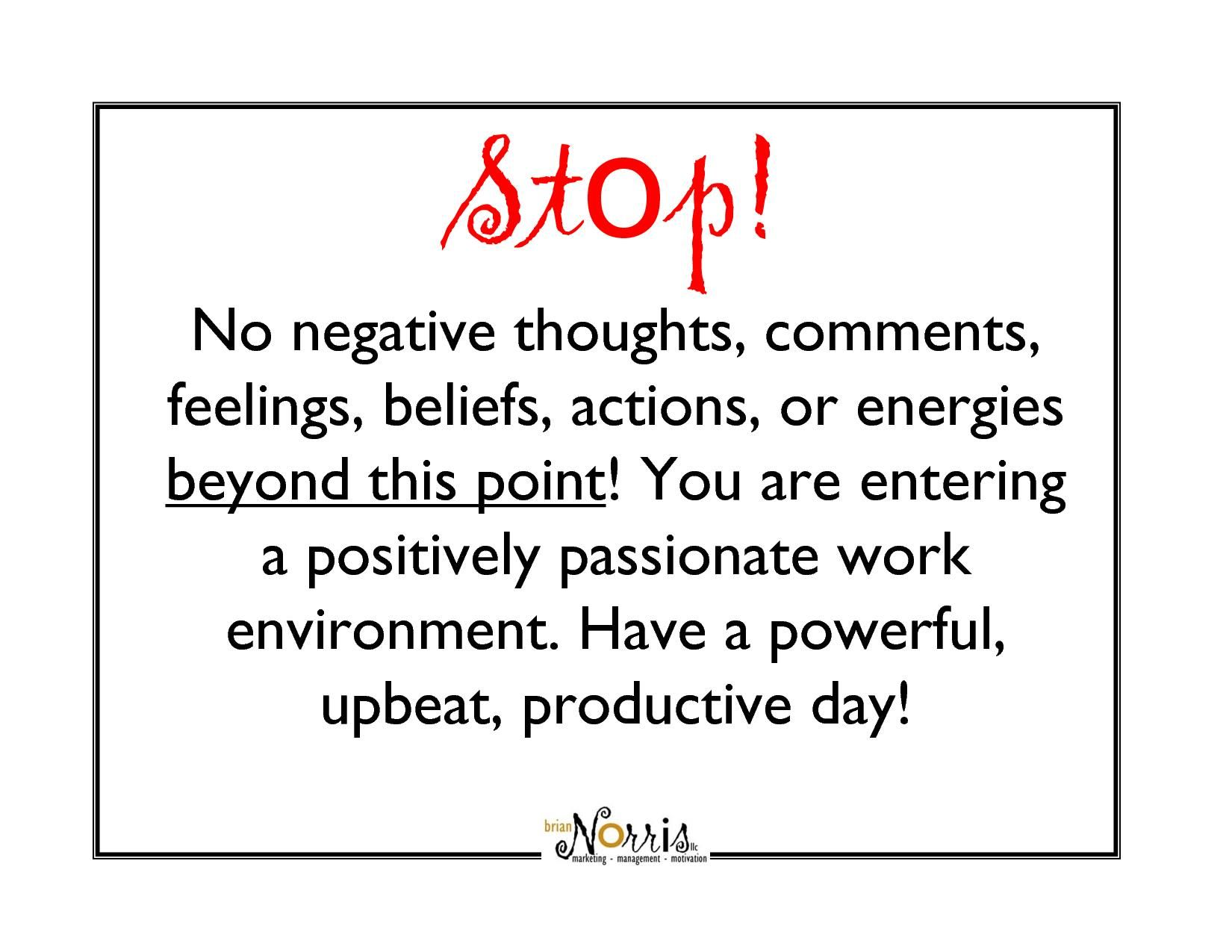 Stop The Negative Thoughts And Thinking