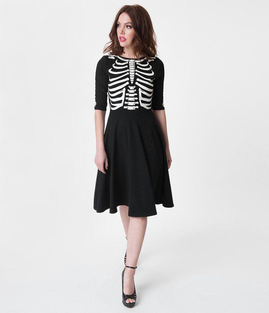 62d9c2179d07 Unique Vintage Black Skeleton Bones Graves Swing Dress $98 | Unique Vintage  Halloween 2018