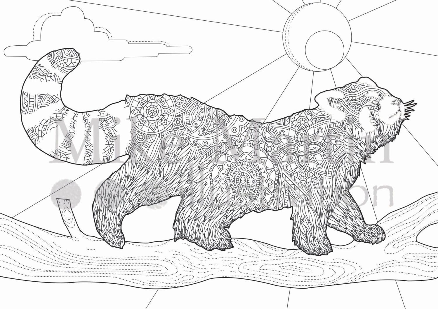Red coloring pages printable - Printable Red Panda Coloring Page Instant By Mjmillustrationco