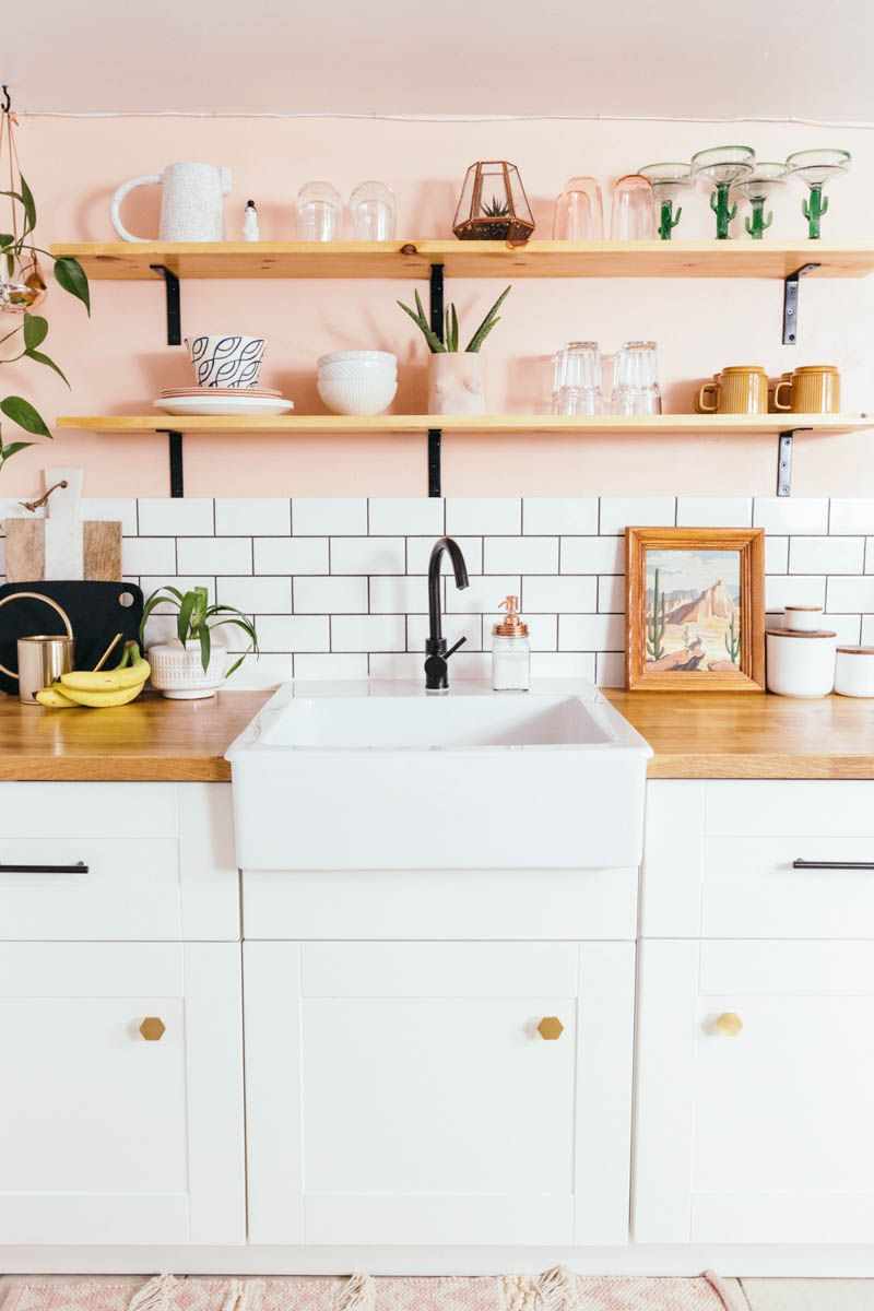 Before After A Toronto Rental S Peachy Kitchen Remodel Design Sponge Kitchen Remodel Small Diy Kitchen Renovation Small Apartment Kitchen