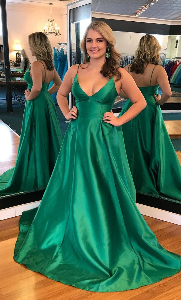 2018 straps green long prom dress, elegant green long prom dress ...
