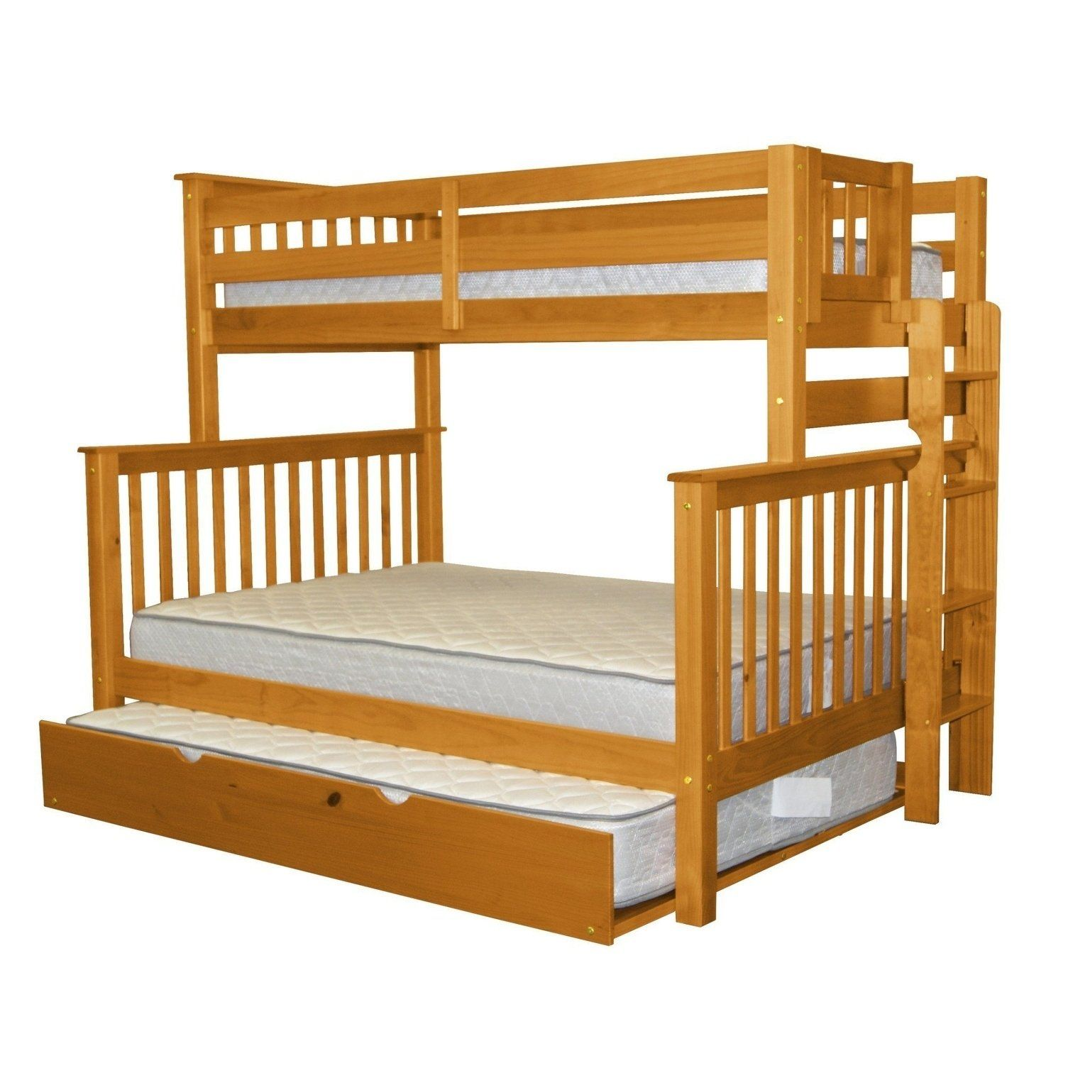 Best Bedz King Honey Brazilian Pine Wood Twin Over Full Mission 400 x 300