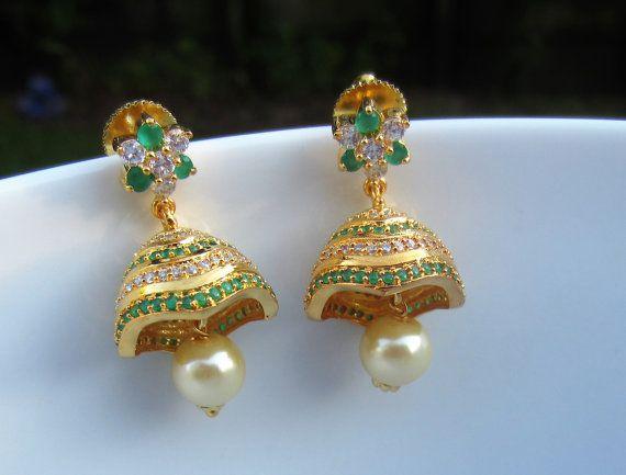 Emerald Cz Jhumkas Green Stone Jumkas Indian Jewelry Casual Wear Earrings Birthday Gift Indian Jhum Black Beaded Jewelry Jewelry Set Design Indian Jewelry