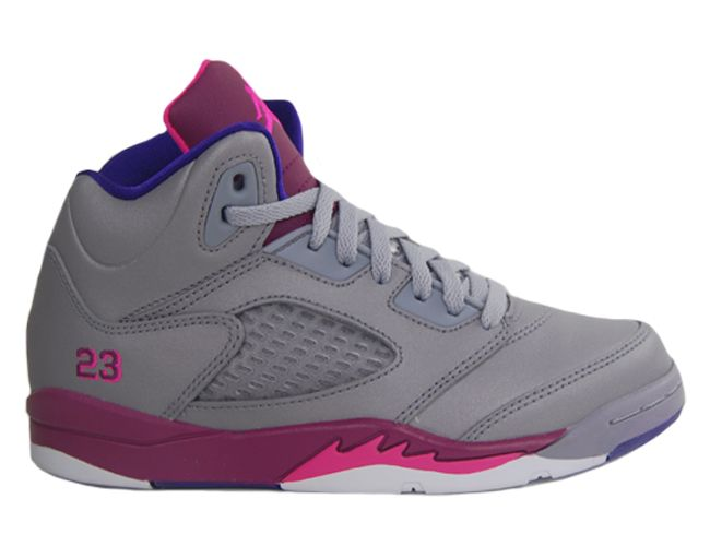 29ed97aab0b4 Girls Nike Air Jordan Retro 5 V PS Cement Grey Pink Flash Purple ...