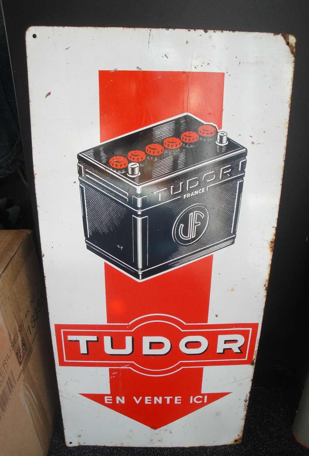 ancienne plaque publicitaire tudor batterie t le automobile vintage pub pinterest. Black Bedroom Furniture Sets. Home Design Ideas