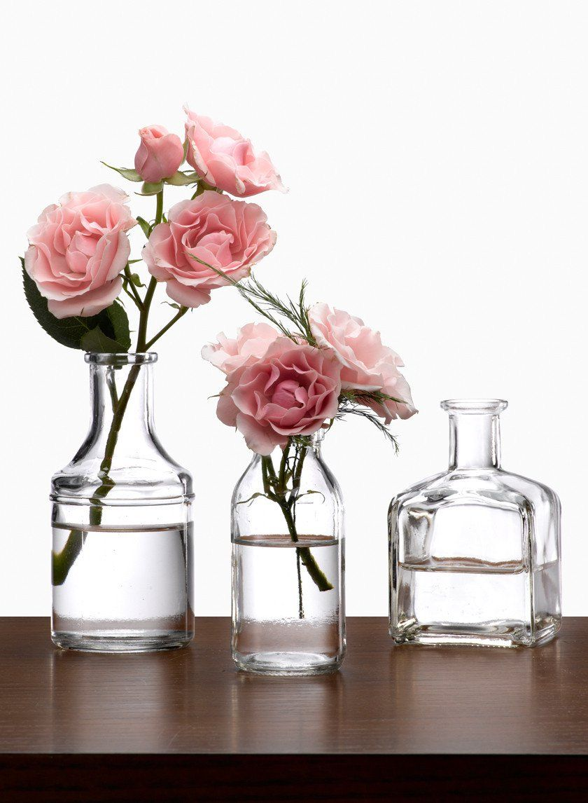 Clear glass bottle bud vases small bouquet bottle and glass bottle available in square mini milk medicine bottle shapes these bud vases create pretty groupings reviewsmspy