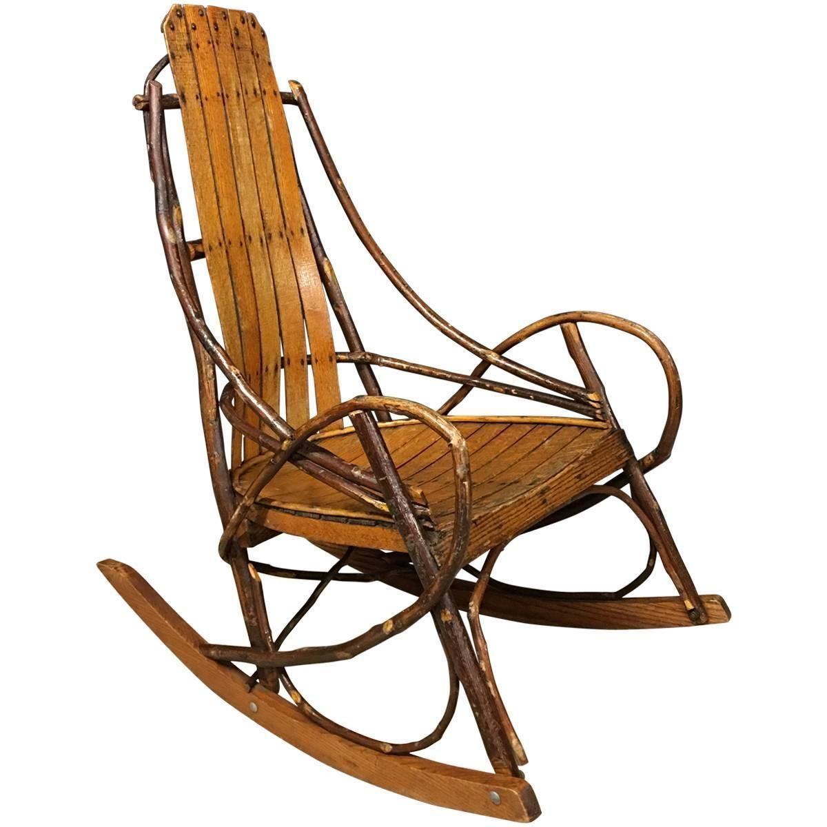 Vintage American Adirondack Rocking Chair 1920s Vintage Rocking