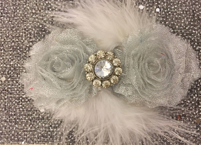 Silver Glitter Shabby Flower Marabou Blue White Hair Clip Holiday