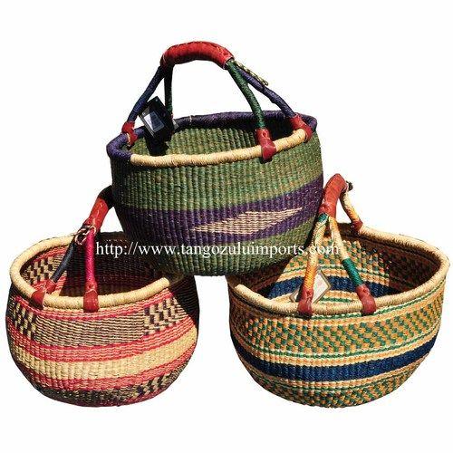 African Baskets - Large Market Bolga Basket - tangozuluimports.com