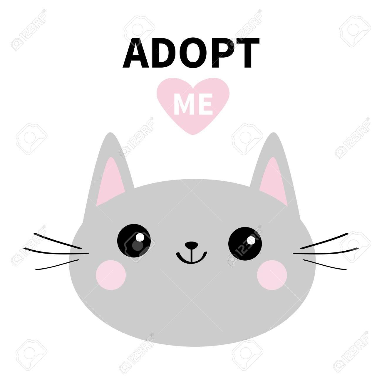 Adopt Me Dont Buy Gray Cat Round Head Silhouette Pink Heart Pet Adoption Kawaii Animal Cute C Cat Silhouette Kawaii Animals Digital Illustration Tutorial