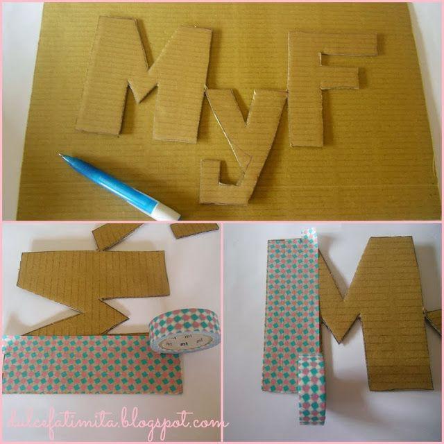 Letras decoradas con washi tape hacia el lado bueno de - Decoracion con washi tape ...