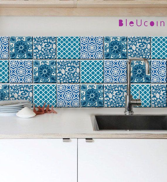 Tile Decal Indian Blue Pottery Style 4 Designs 44 Pieces Blue Pottery Tile Decals Stair Decals